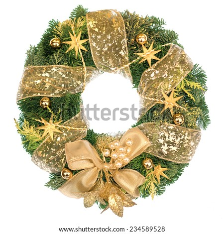 Christmas wreath with golden decorations isolated on white - stock photo