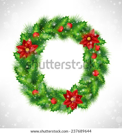 Christmas wreath with holly sprigs, pine branches and flowers of poinsettia in snowfall on grayscale background - stock photo