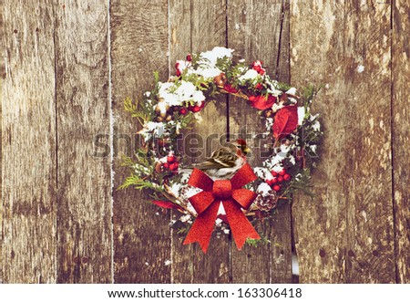 Christmas wreath with natural decorations with a beautiful common redpoll bird perched, hanging on a rustic wooden wall with copy space.
