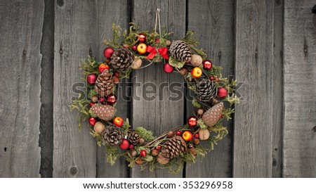 Christmas wreath with pine cones and nuts