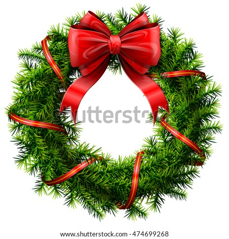 Christmas wreath with red bow and ribbon. Decorated wreath of pine branches isolated on white. Image for new year's day, christmas, decoration, winter holiday, design, new year's eve, silvester, etc