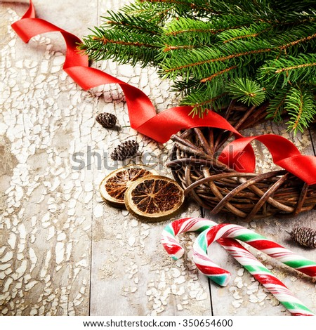 Christmas wreath with red ribbon and fir branches. Copy space - stock photo