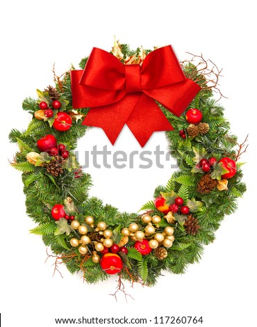 christmas wreath with red ribbon and golden decoration isolated on white - stock photo