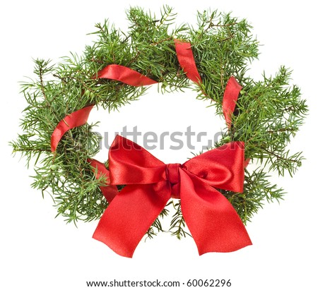christmas wreath with red ribbon bow isolated on white - stock photo