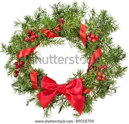 christmas wreath with red ribbon bow surface top view isolated on white - stock photo