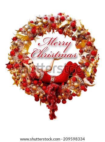Christmas wreath with red ribbon, golden decoration and young lady mannequin,  illustration isolated on white - stock photo