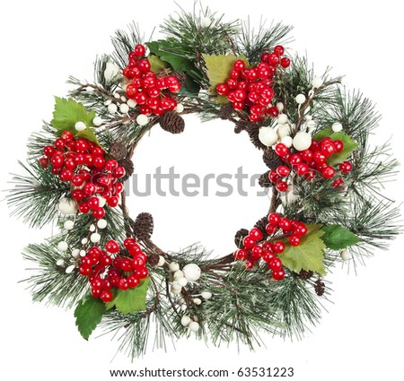 christmas wreath with red Viburnum - stock photo