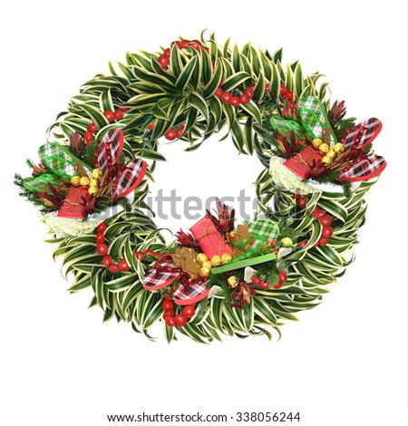 Christmas wreath with tropical December 6th St. Nicholas twist, featuring flip flops, large shells filled with treats, kukui nut garland, Song of India as primary greenery