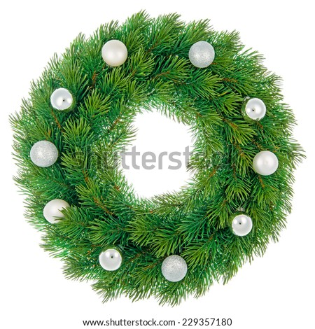 Christmas wreath with white and silver baubles isolated on white background. - stock photo