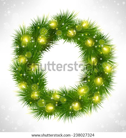 Christmas wreath with yellow glassy led Christmas lights garland like frame in snowfall on grayscale background - stock photo