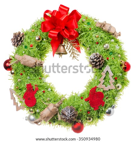 Christmas wreaths with decorations cones and balls (shallow DOF), isolated on white background - stock photo