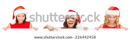 christmas, x-mas, people, advertisement and sale concept - happy women in santa helper hat with blank white board over white background - stock photo