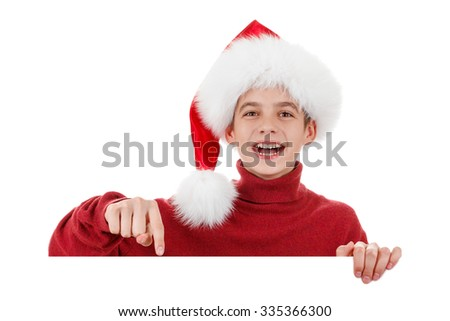 Christmas, Xmas laughing Santa showing blank empty billboard sign. Copyspace, isolated on white background - stock photo
