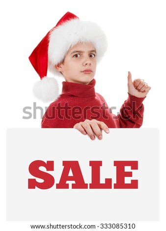 Christmas, Xmas santa boy is showing blank empty billboard sign. Copyspace, isolated on white background - stock photo