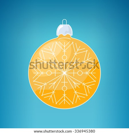 Christmas Yellow Ball with Snowflake , Christmas Ball  on a Blue Background ,Christmas Tree Decoration, Merry Christmas and Happy New Year - stock photo