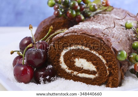 christmas yule log buche de noel chocolate cake with branch fresh cherries and - Decoration Buche De Noel