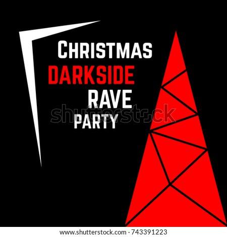 Christmass Invitation Card Modern Darkside Rave Stock Illustration