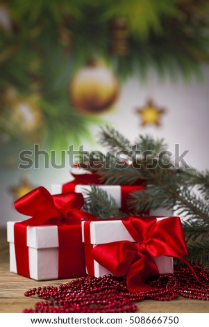 Christmastime celebration, Gift box with red ribbon bow