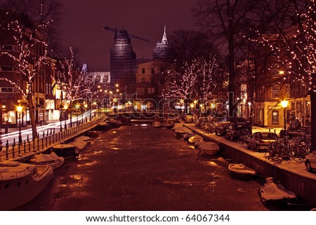 Christmastime in Amsterdam the Netherlands - stock photo