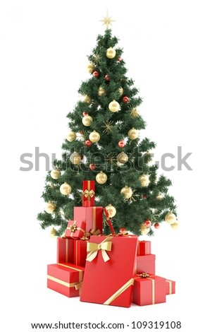Christmastree with present boxes on white background - stock photo