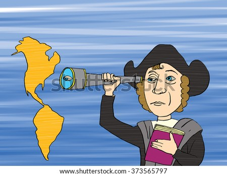 Christopher Columbus and America, cartoon