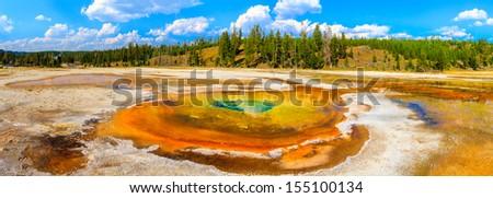 Chromatic Pool Panorama, Yellowstone National Park, Upper Geyser Basin, Wyoming - stock photo