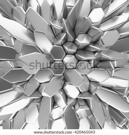 Chrome abstract hexagons backdrop. 3d rendering geometric polygons, as tile wall. Interior room