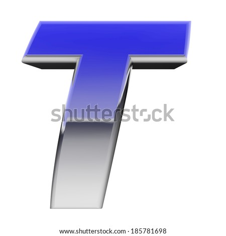 Chrome alphabet symbol letter T with color gradient reflections isolated on white. High resolution 3D image  - stock photo