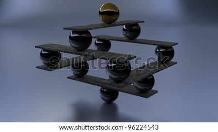 chrome and marble zen abstract sculpture - stock photo