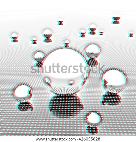 Chrome ball on light path to infinity. 3d render . Pencil drawing. 3D illustration. Anaglyph. View with red/cyan glasses to see in 3D. - stock photo