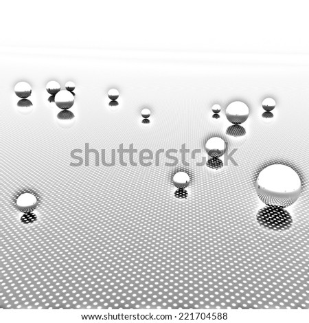Chrome ball on light path to infinity. Pencil drawing  - stock photo