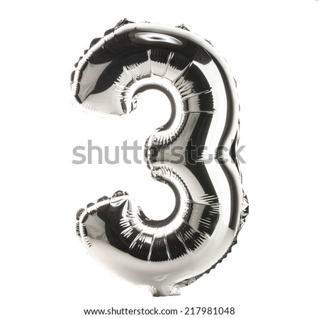 Chrome balloon font part of full set of numbers, number 3, three - stock photo