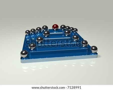 Chrome balls are placed on a blue metal pyramid. The topmost ball is red. It represents the hierarchy of a company. The red ball is the leader. - stock photo
