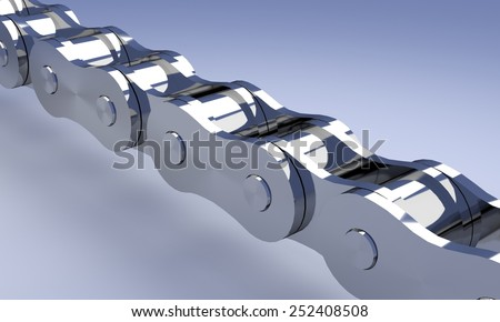 Chrome bike or motorcycle chain, 3D rendering.