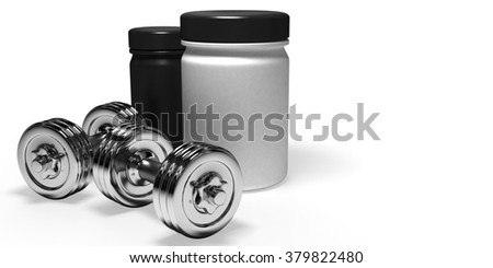 chrome dumbbells at the background of cans of sports nutrition - stock photo