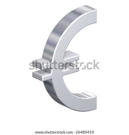 Chrome Euro sign isolated on white. Computer generated 3D photo rendering.