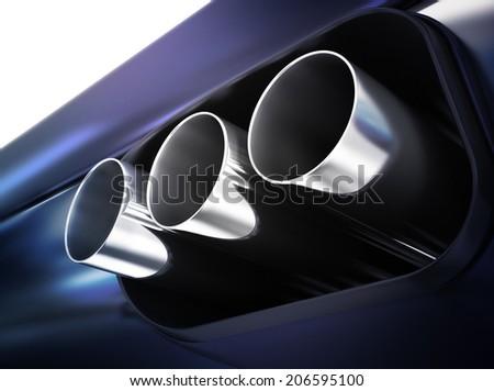 Chrome exhaust - stock photo