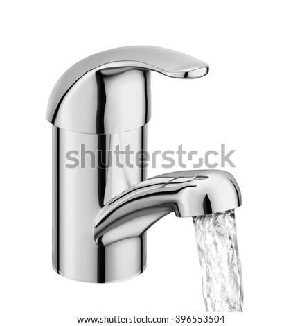 Chrome Faucet Isolated on White