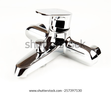 chrome faucet shower on a white background - stock photo