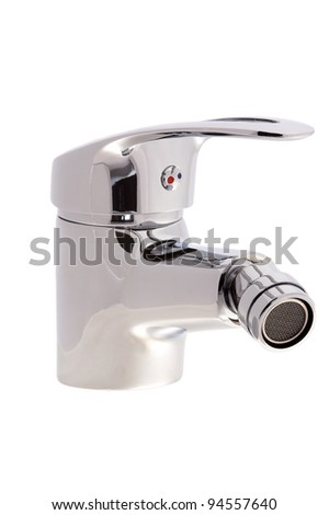 chrome faucet water tap with a swivel head on an isolated background cutout