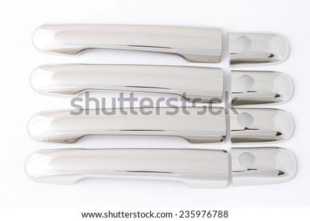chrome handle car isolated on white background - stock photo