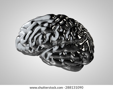 Chrome human brain on a gray background for the text - stock photo