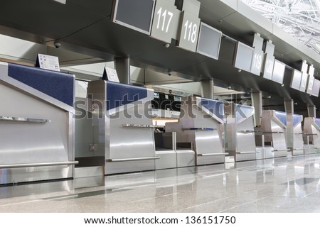 Chrome interior elements in the airport terminal - stock photo