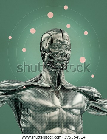 Chrome man anatomy. 3D Illustration. Future human race, thought, universe, existence. Human body with reflective metallic surface. - stock photo