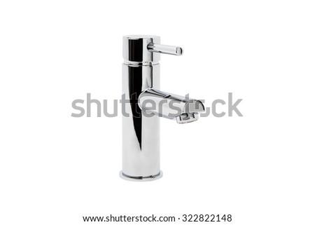 Chrome mixer tap on white background. - stock photo
