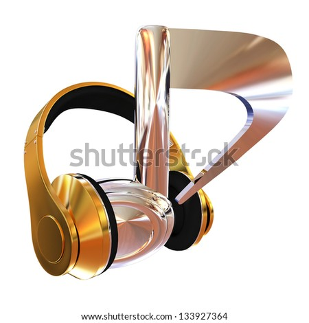 Chrome notes and gold headphones. Music concept