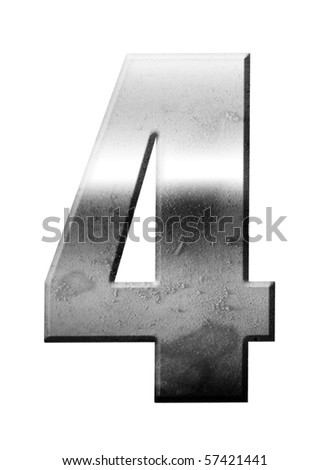 Chrome number Four over white background, Metallic texture