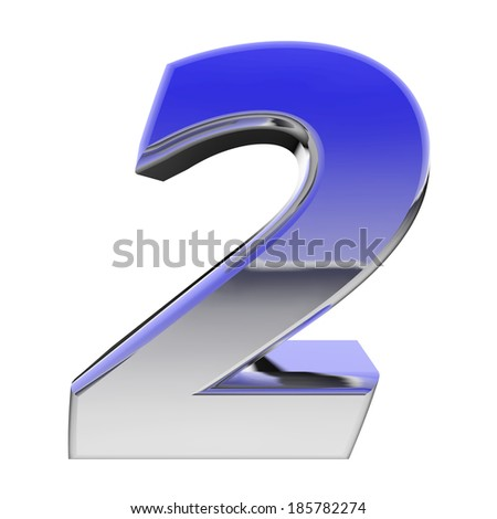 Chrome number 2 with color gradient reflections isolated on white. High resolution 3D image - stock photo