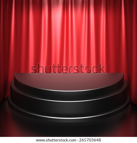 Chrome Pedestal on Red Curtains Background - stock photo