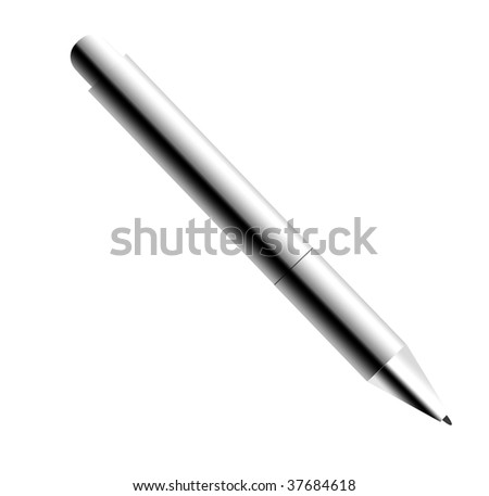 chrome pencil over white background. Isolated image